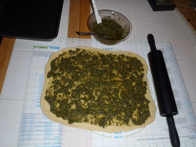 Pesto on dough