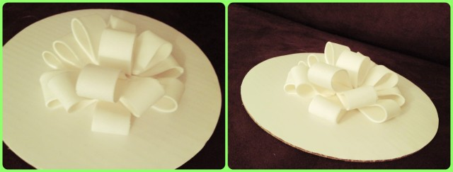 In week 1, we practiced rolling out fondant and making a bow.  I definitely have room for improvement, but a pretty solid first attempt!